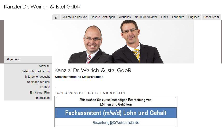 Lohnbuchhalter (m/w/d) bei Dr. Weirich & Istel